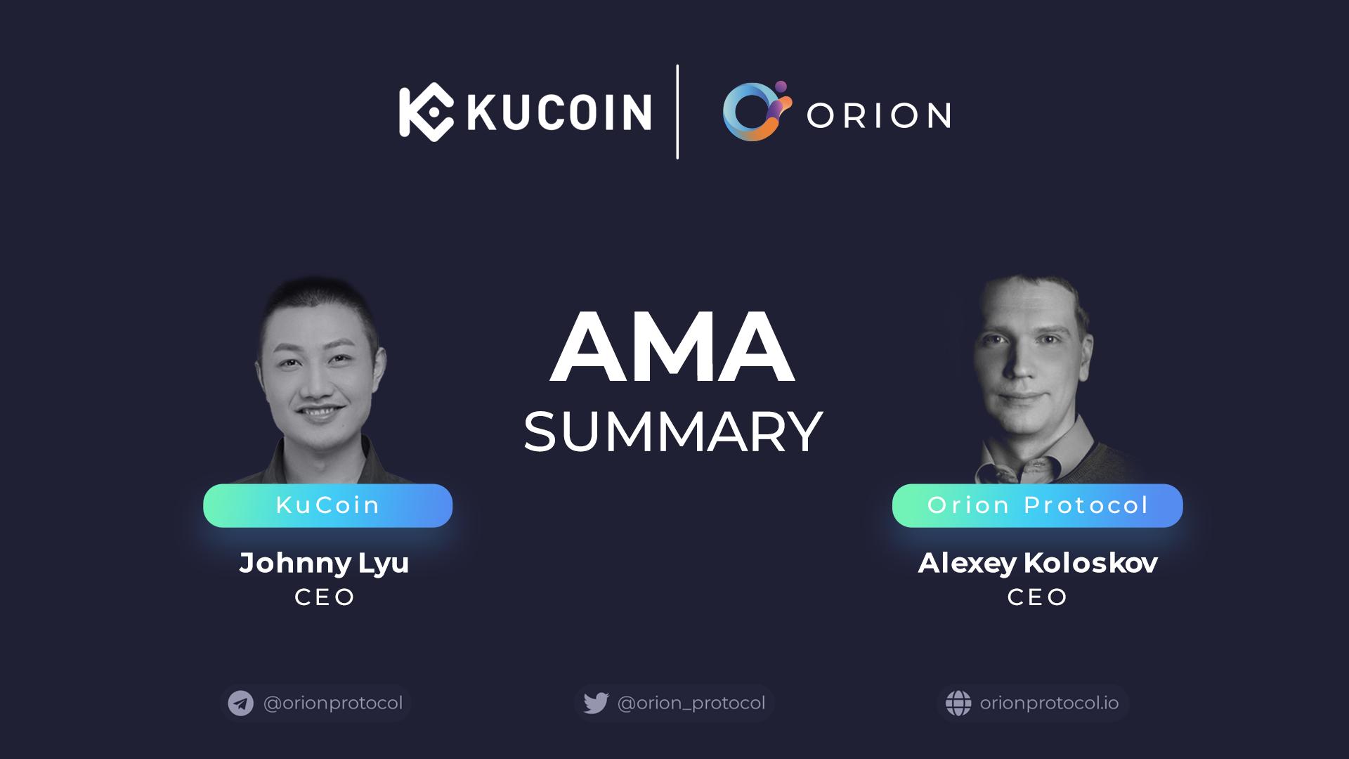 KuCoin + Orion Protocol: AMA