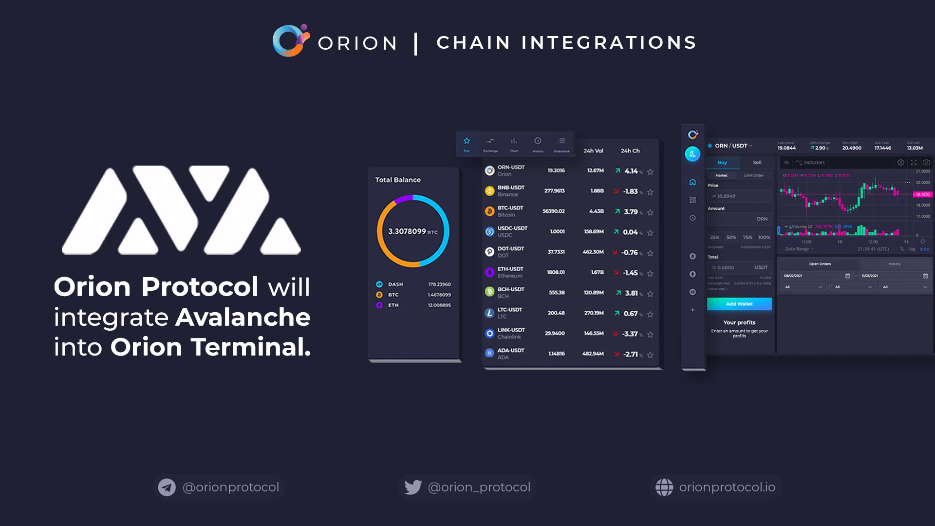 Orion Protocol to Integrate Avalanche Chain