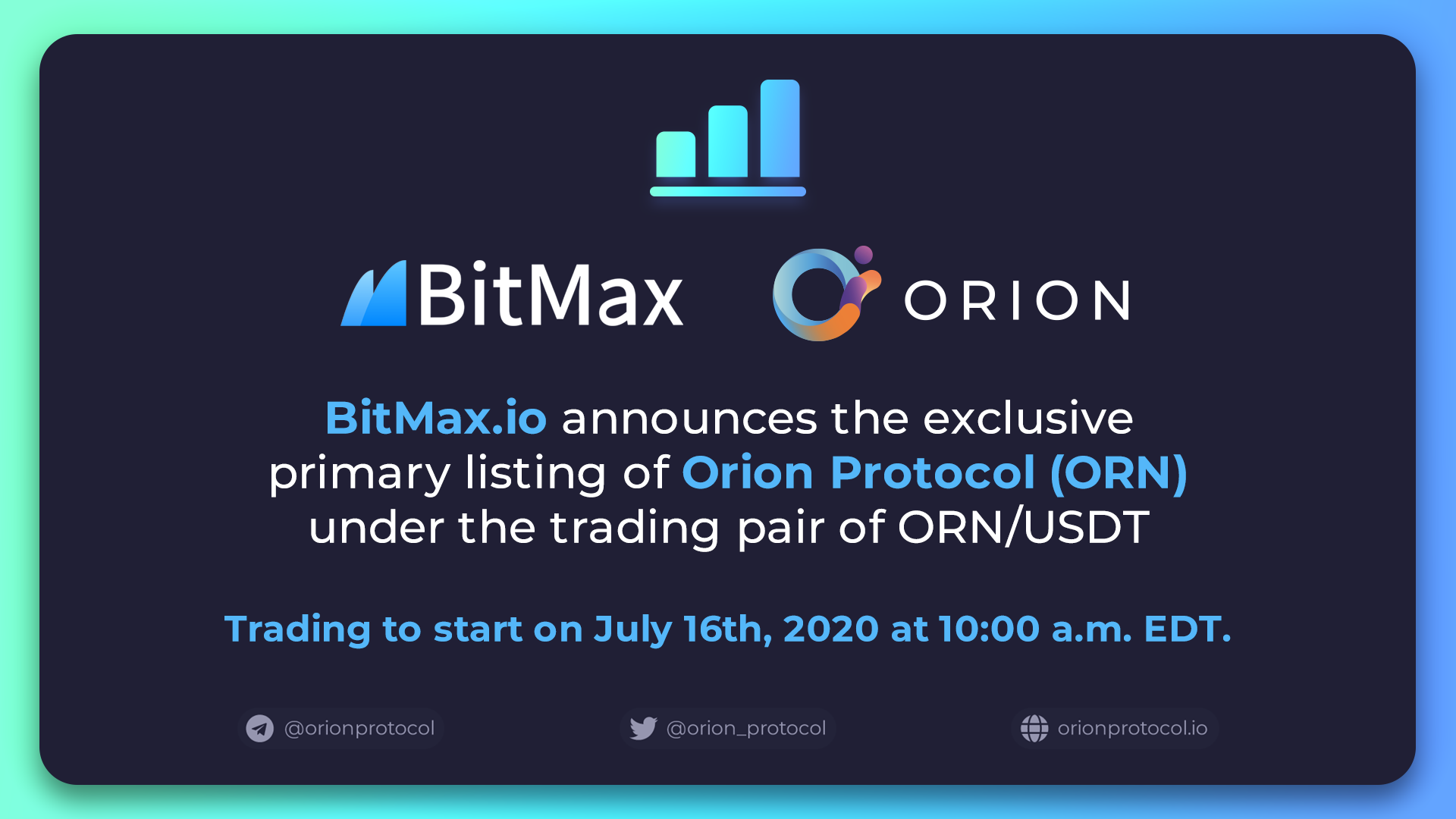 ORN's Primary Listing on BitMax
