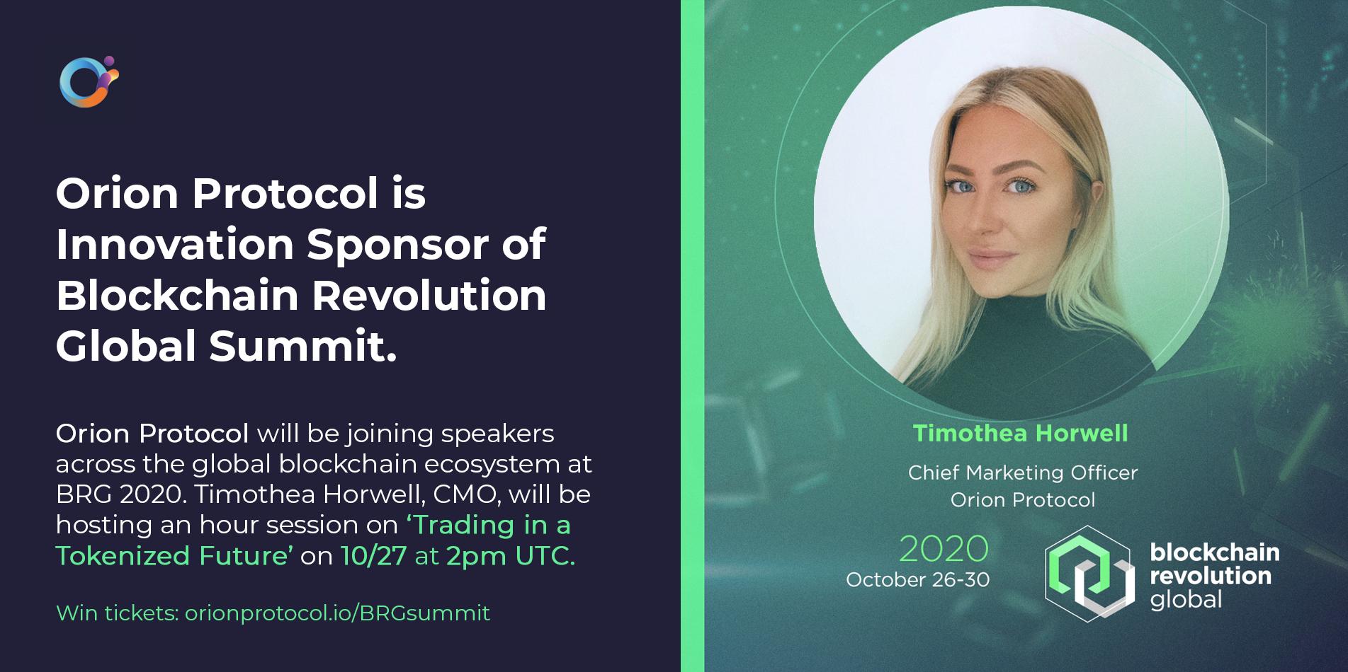 Orion Protocol an Innovation Sponsor of Blockchain Revolution Global.