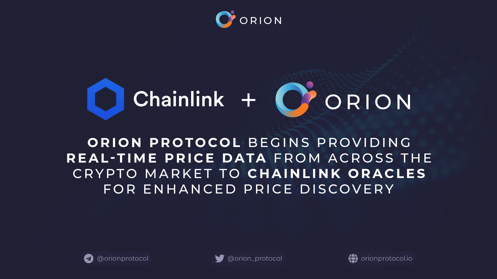 Orion Protocol Providing Real-Time Price Data to Chainlink