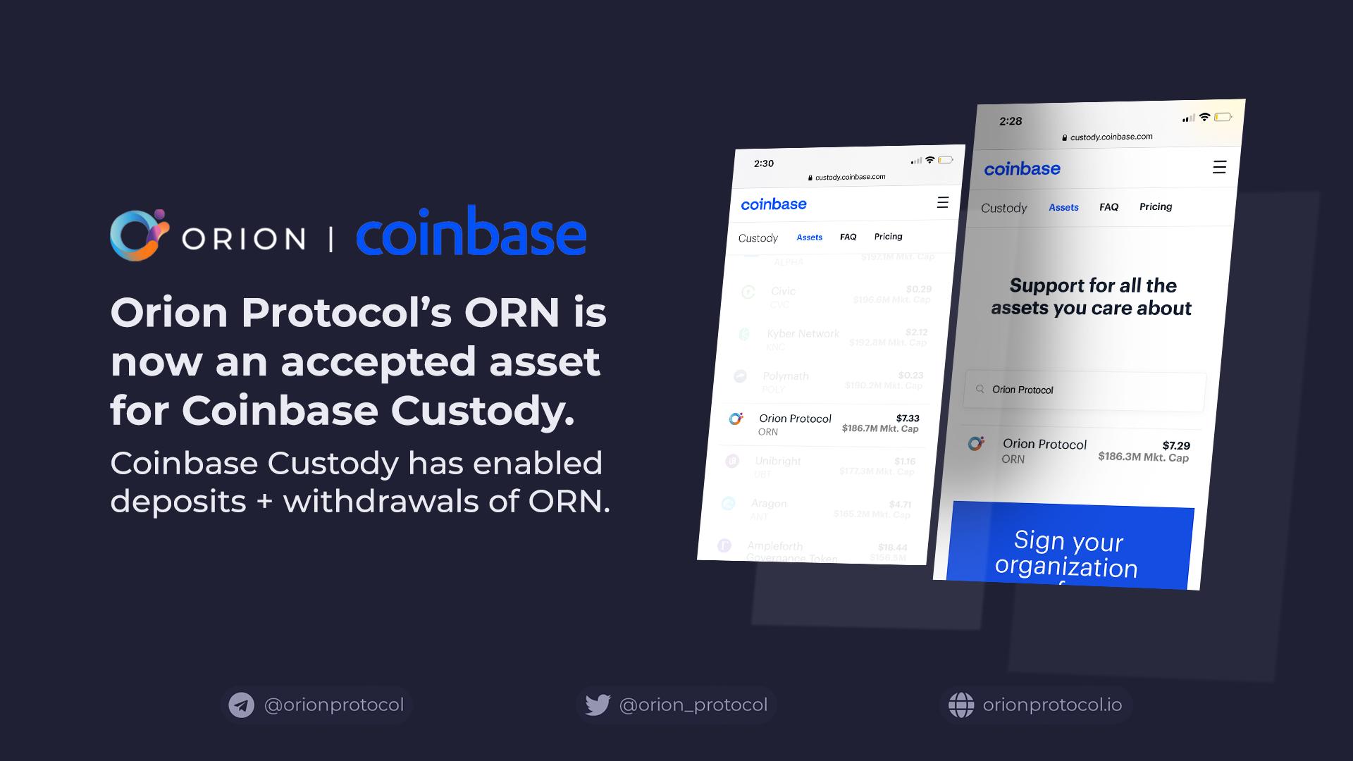 ORN on Coinbase Custody