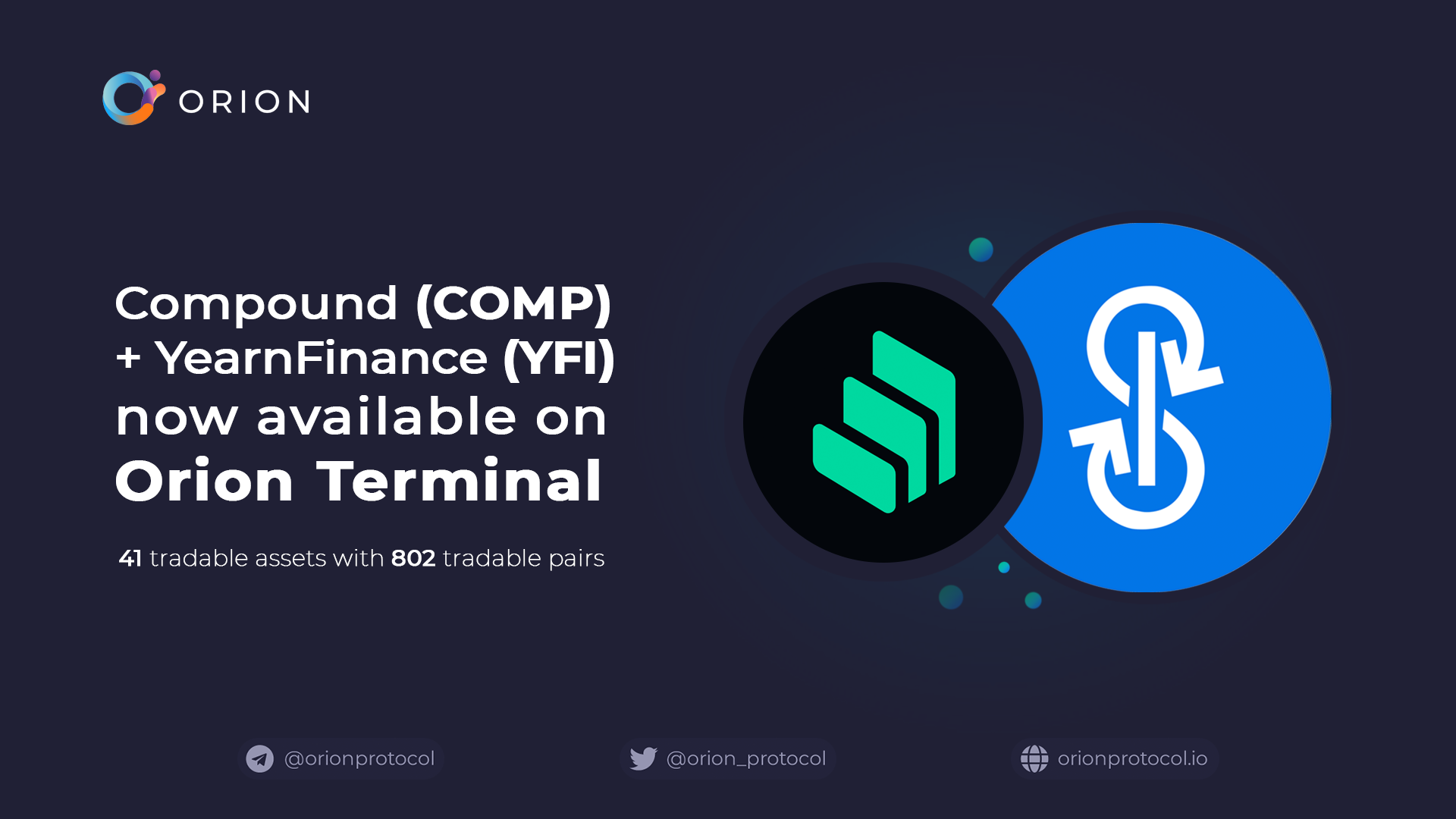 YFI + COMP added to Orion Terminal