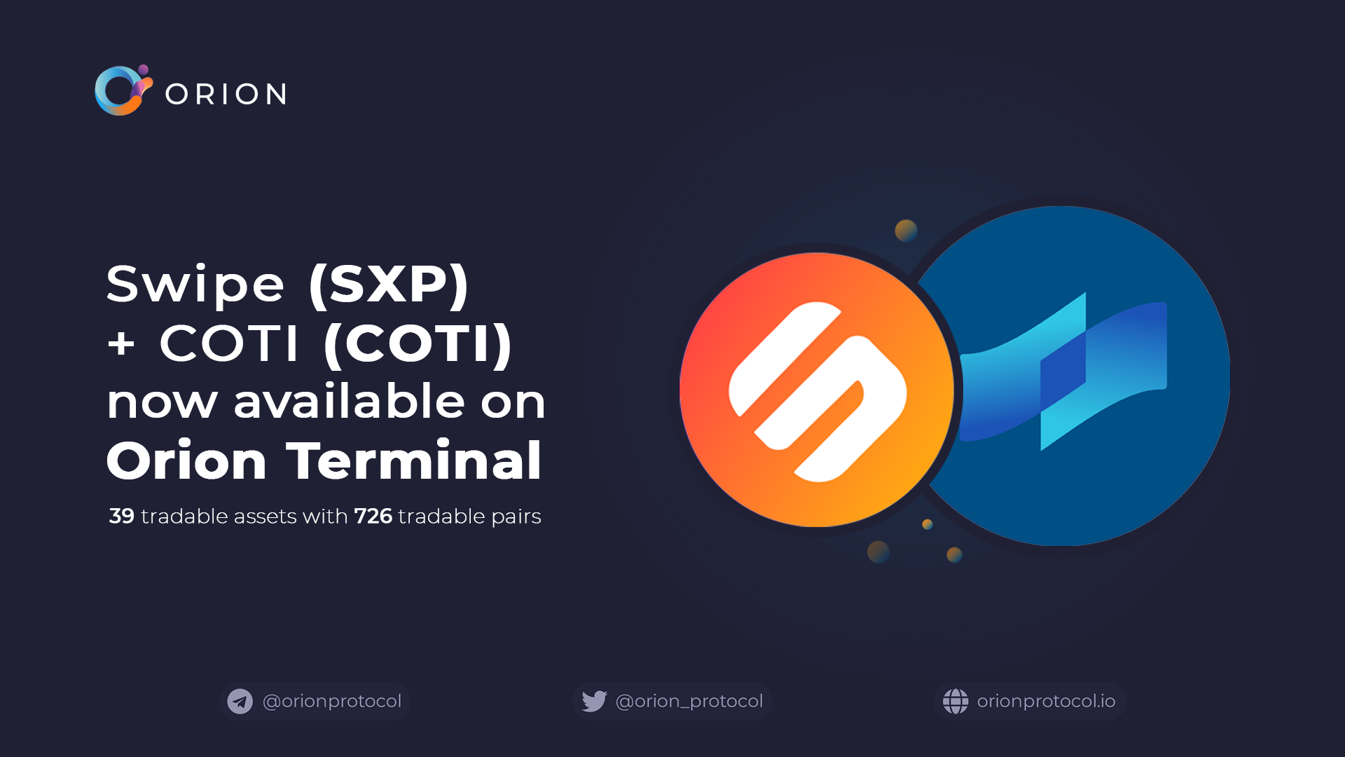 COTI + Swipe added to Orion Terminal