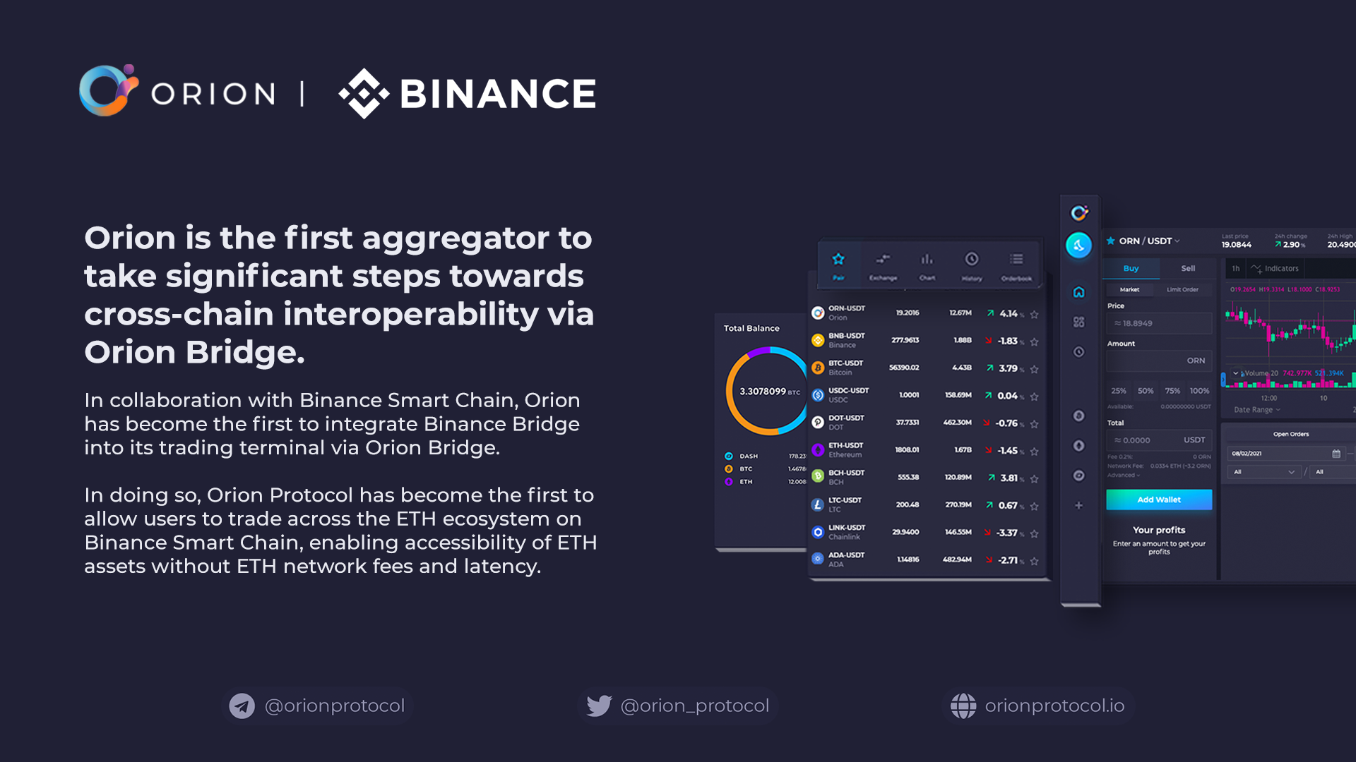 Orion Bridge integrates Binance Bridge