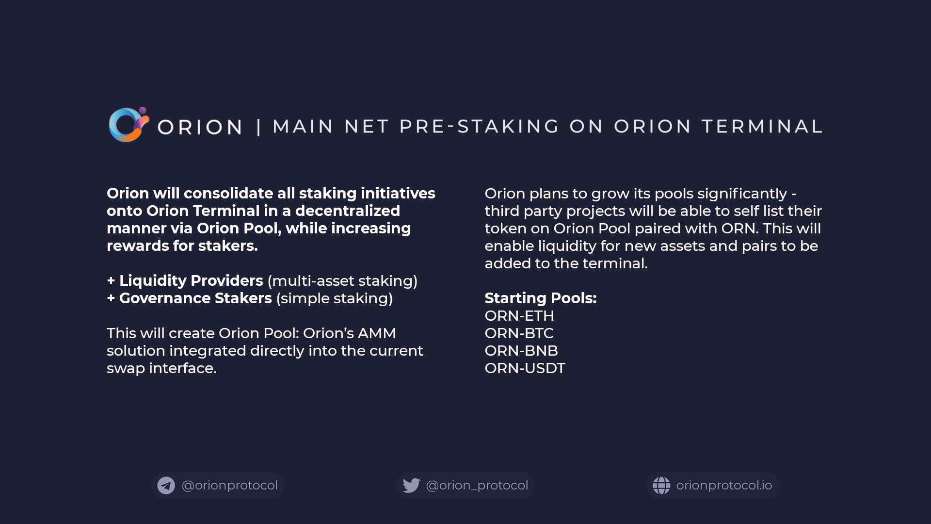 Orion Announces Main Net Pre-Staking via Orion AMM on Orion Terminal