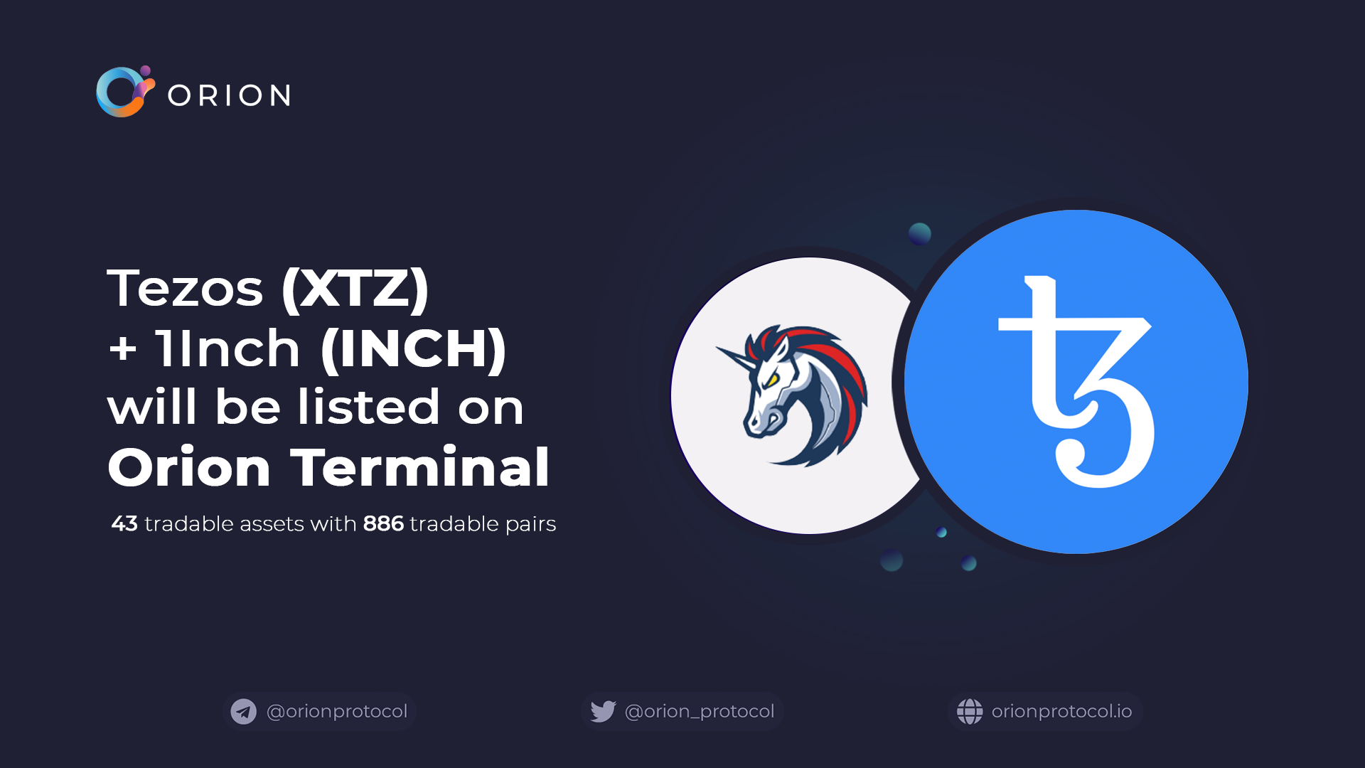 XTZ + INCH added to Orion Terminal