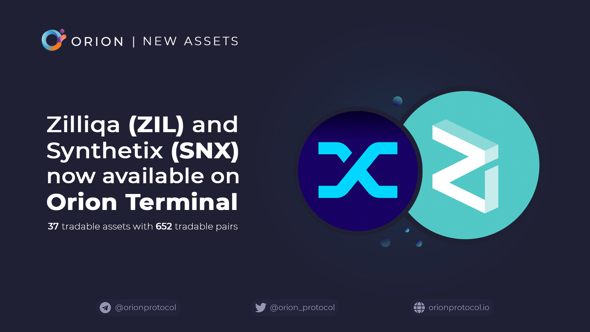 Zilliqa and Synthetix added to Orion Terminal